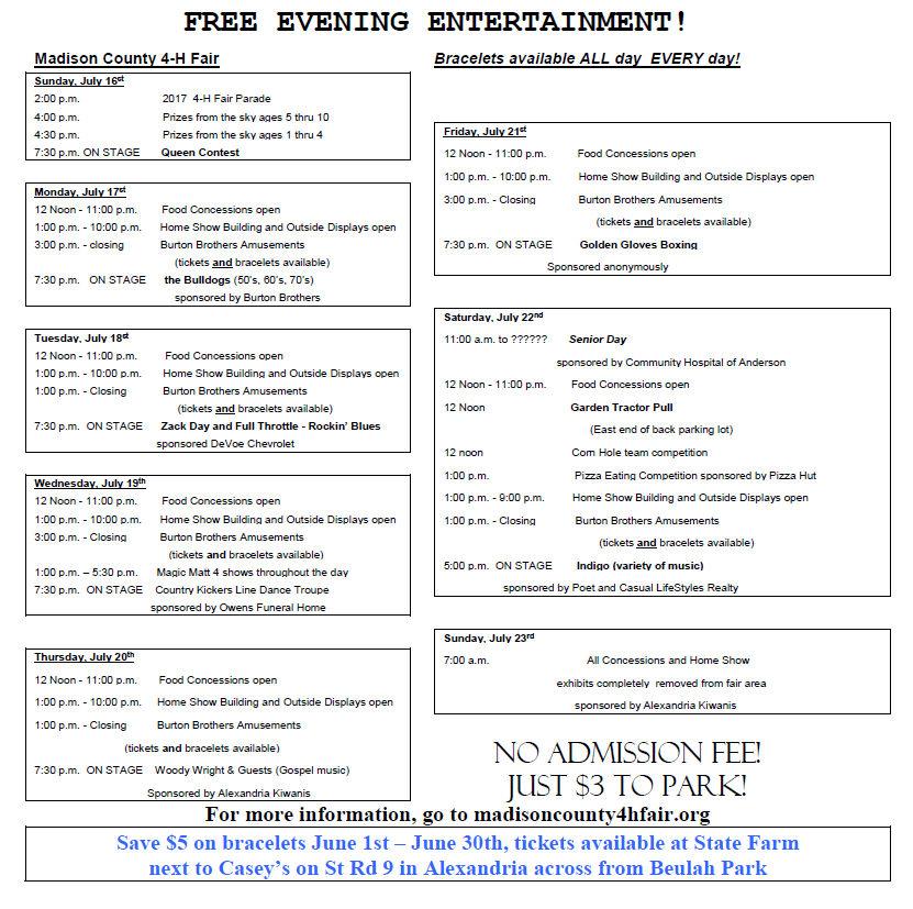 Alexandria 4H Fair Schedule