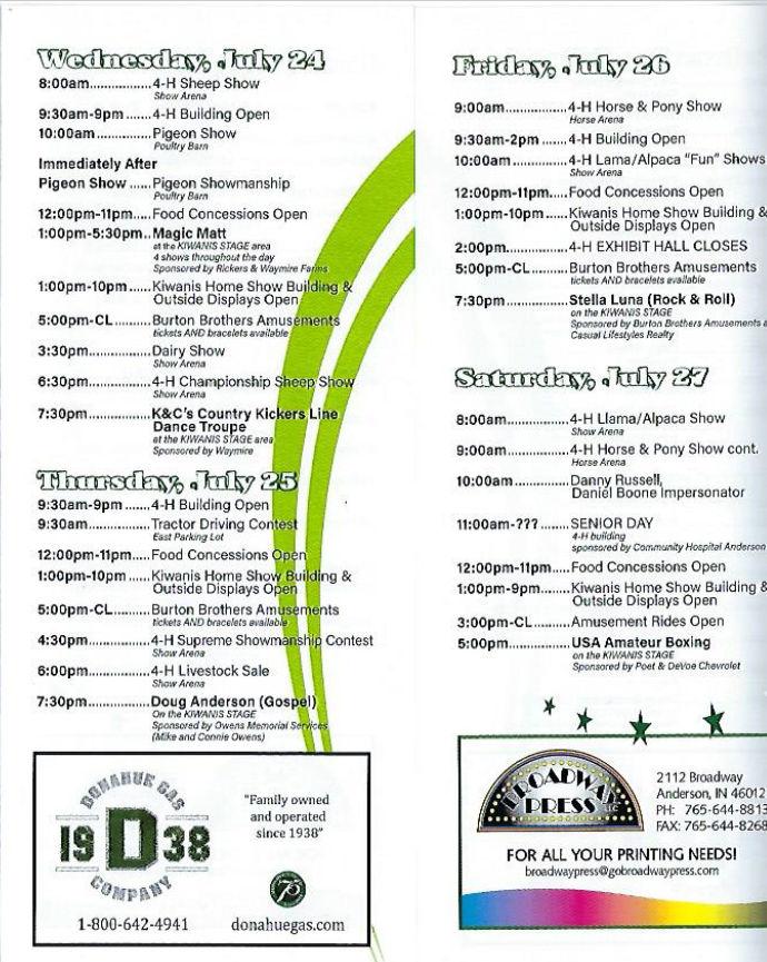 Fair Schedule – Madison County 4H Fair